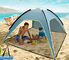 """83'' x 83"""" Large Beach Tent with Removable Floor, 4 Person Sun Shelter Sunshade Canopy"""