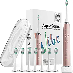 AquaSonic Vibe Series Ultra Whitening Toothbrush – ADA Accepted Electric Toothbrush